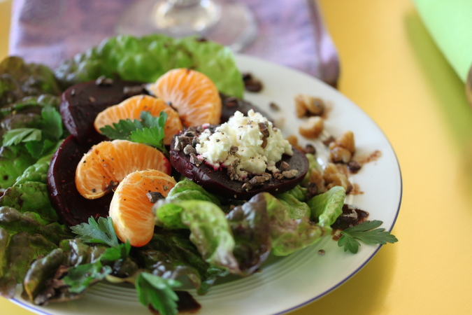 Crunchy Cocoa Nib, Mandarin and Roasted Beet Salad